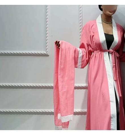 Kimono long rose avec foulard
