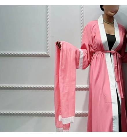 Long pink kimono with hijab