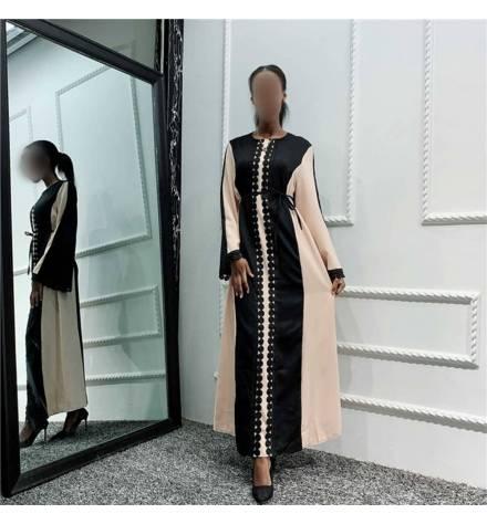 Abaya noir et crème