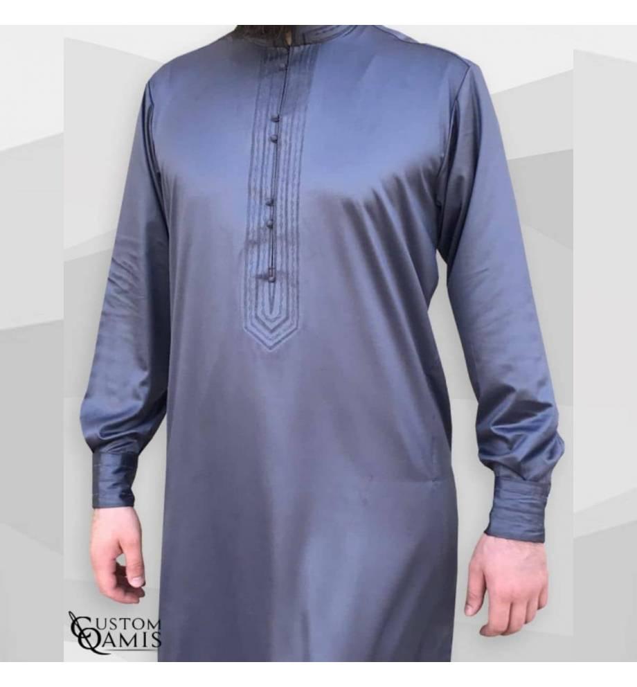 Qamis Sultant gris satiné