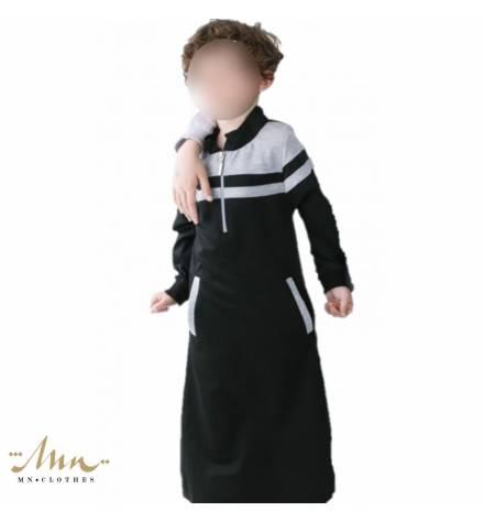 Long Child Kameez - Black and light gray model