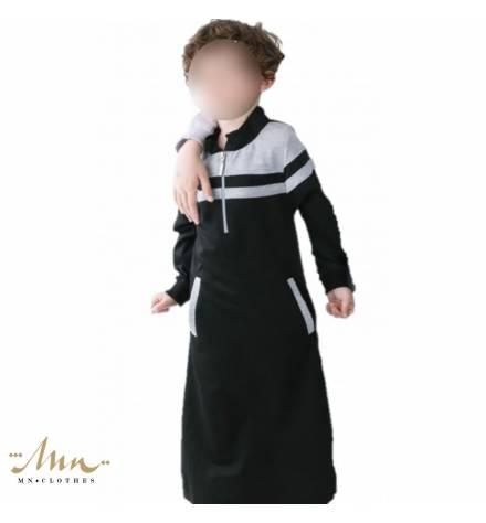 Qamis Enfant Qaba'il - Modèle noir et gris clair